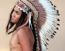 Feathers indian headdress,long length  warbonnet, tribal headpiece, indian hat