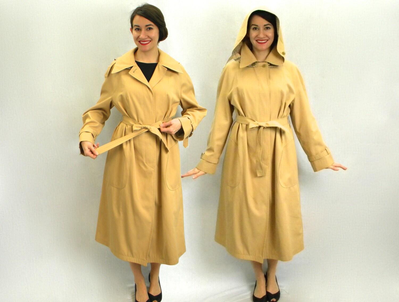 70 s manteau trench kaki avec capuche long manteau de pluie. Black Bedroom Furniture Sets. Home Design Ideas