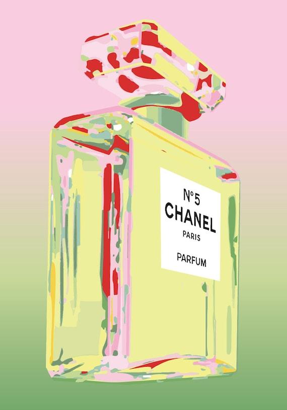 Chanel no 5 no5 no 5 andy warhol print poster pop art - Deco pop art ...