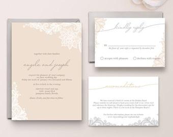 Angela Suite - Digital - Printable- DIY- Vintage Lace Invitation,  Buff Invitation