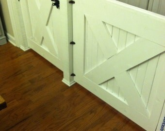 Large opening rustic wooden farmhouse gate. 50 inches plus.