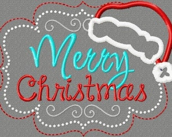 Merry Christmas embroidery design 5X7 Christmas, Santa Claus