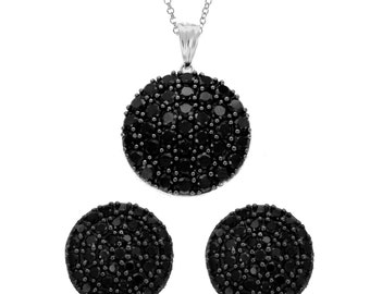 Sterling Silver Black Spinal Earring and Pendant Necklace Set.