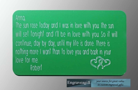 Wedding Gift Engraved Message : Custom Engraved Personalized Wallet Message Card Stamped