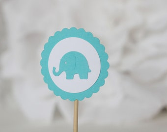 24 Turquoise cupcake toppers,  blue elephant baby shower cupcake topper, birthday party, boy shower, turquoise baby shower, baby elephant