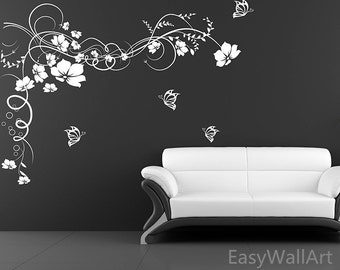 Rose Vine Vinyl Wall Decal Flower Wall Decals Flower Wall - Custom vinyl wall decals flowers