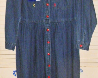 Womens Denim School Appliqued Dress