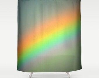 Shower Curtain Vintage Rainbow Gray Pastel Bathroom Decor