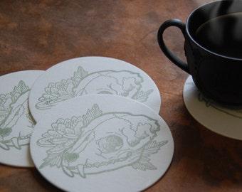 Cat Skull and Dahlia Letterpressed Coasters