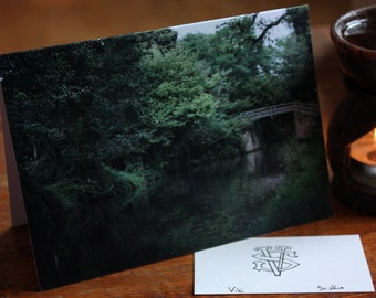 River Wey and bridge in Surrey - greeting card riverbank photography