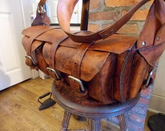 Dollis   10oz rugged heavy duty 100% handmade USA genuine BOOT LEATHER duffle bag / shoulder / carryon / overnight / waterproof