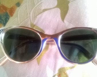 1950s Genuine Vintage Glamorous Metalic Pink Templer Sunglasses