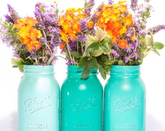 Mason 'Ball' jar Vases in shades of Teal, Set of Three- hand painted and distressed- Made to Order