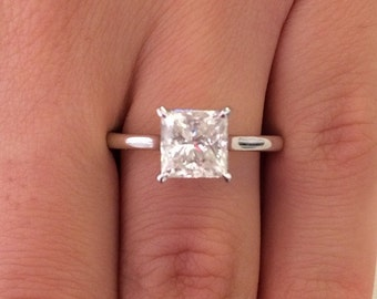 2.00 CT Princess Cut f/si1 Diamond Solitaire Engagement Ring 14k White Gold