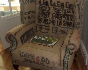 Coffee Sack Queen Anne Scroll Wing Chair
