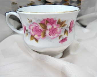 Vintage Fine Bone China Queen Anne Tea Cup -   - Floral Pattern Pink Roses
