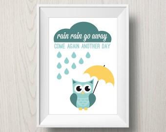 Nursery art 'Rain Rain Go Away' printable poster, nursery decoration, instant download, owl with umbrella, nursery rhyme
