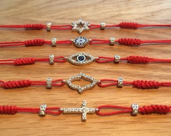 Red Bracelets with CZ Charms • Braided Bracelets • Evil Eye Bracelet • Cross Bracelet • Hamsa Bracelet • David Star Bracelet • Waterproof