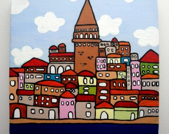 Cityscape Painting, Modern Acrylic Painting, Abstract Painting, Istanbul Galata Tower Illustration, 6x6 Canvas Painting