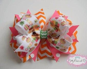 Thanksgiving Hair Bow, Pink Thanksgiving Hair Bow, Turkey Hair Bow, Pink and Orange Hair Bow, Fall Hair Bow