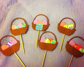 Easter basket cupcake toppers