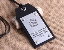 Personalized Leather Luggage Tags - Hand made Luggage Tags - Block Monogram Luggage tag - Circle Monogram -Gift for Love