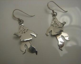 Sterling Silver Moveable Clown Earrings Dangle 40mm fm hole 151