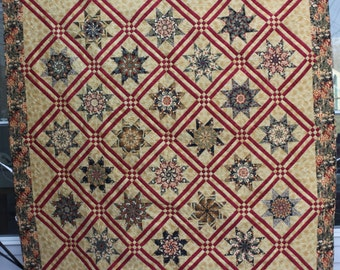 "queen size quilt, king topper, 92"" x 92"", beautiful lamoyne star design.  Dense machine quilting"