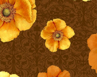 Windflower Flannel - Tossed Poppies on Brown Fabric