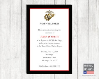 Marine Corps Farewell Invitation, Printable Marine Corps Farewell Invitation, Military Farewell Invitation, Military Farewell Party Invite