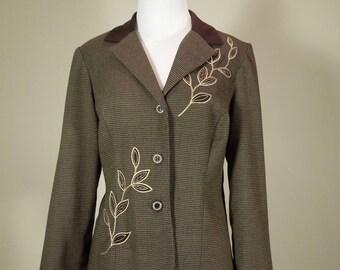 SALE!  Vintage Sheri Martin New York Jacket. Size 10. Casual Jacket. Browns & Taupe Tweed. Leaf Design.