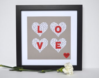 Love Sign Love Home Decor Love Art Paper Hearts Wedding Vow Keepsake
