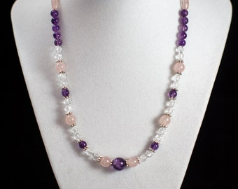 "18"" Silver plated Rose Quartz and Amethyst beaded necklace"