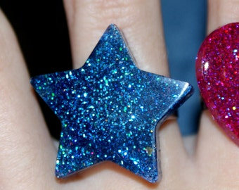 Resin star shaped blue ring