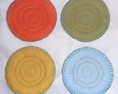 Set of Four Hand Stitched Mug Mats - Quilted Mug Coasters