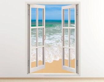 stunning tropical beach vertical wall decal 3D window, coast wall sticker for bedroom design, ocean photo wall decal for nursery decor [255]