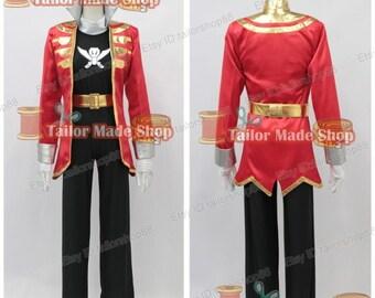 Kaizoku Sentai Gokaiger Gokai Red Cosplay Costume Red