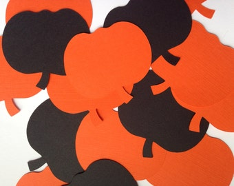 "Pumpkin Die Cuts (2.5"" wide), Orange and Black Paper Pumpkins, Halloween Party Decor"