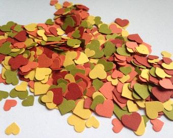 1,500 Fall Confetti Hearts l Autumn Paper Heart Confetti l Thanksgiving Table Decor  l Rustic Wedding Decor