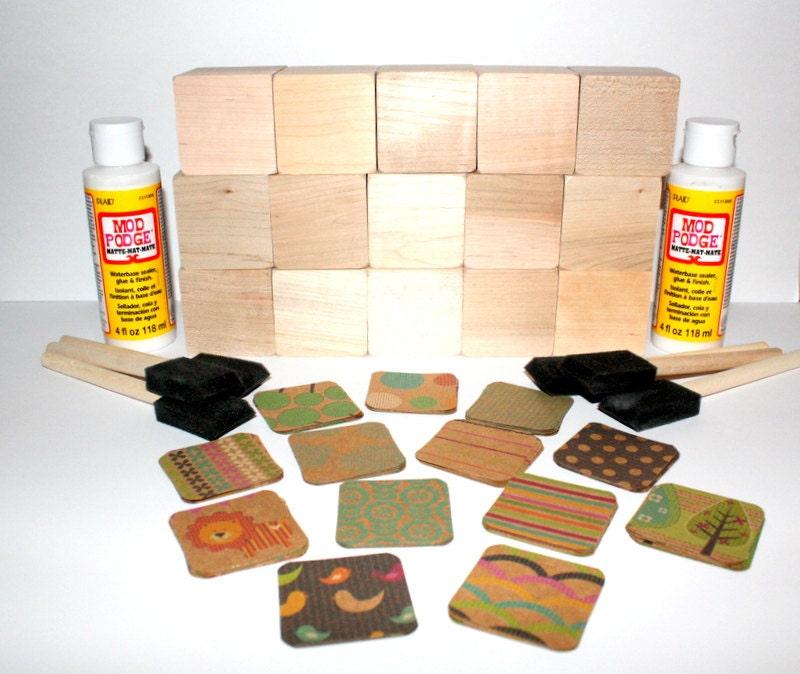 Diy baby shower craft wooden baby blocks kraft paper for Child craft wooden blocks