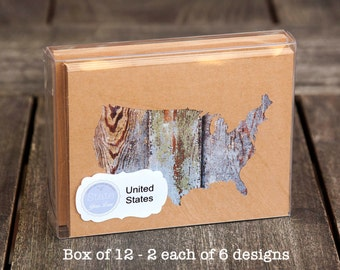 United States - US shape map cutout wood texture photography blank note cards. Box/12. Die cut, Thank You, Country Chic, Rustic
