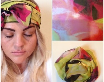 Black Floral with Pink, Lime Green and Orange Head-scarf (one size fits all)