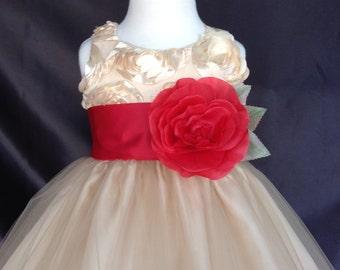 NEW Champagne Flower Girl Bridesmaids Elegant 3D Floral Summer Wedding Easter Toddler Girl Dress S M L XL 2 4 6 8 10 12