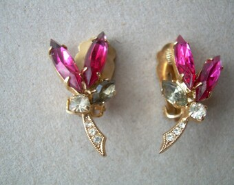 SALE!!  Vintage pink rhinestone earrings from the late 1950's to early 1960's. Great sparkle! Good strong clip.