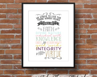 Instant Download 11x14 LDS Young Women Values Typography Print JPEG and PDF.