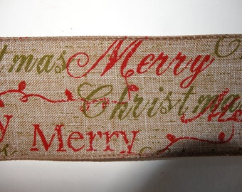 Wire Edged Hessian Merry Christmas Ribbon for Gift Wrapping or Cake Trimming