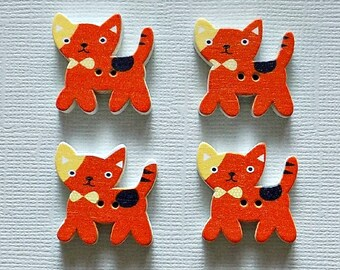 4 Wooden Kitten Buttons - Quilting Buttons - Sewing Buttons - Embellishments - #SB-00006