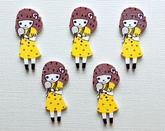 5 Wooden Doll Buttons - Quilting Buttons - Sewing Buttons - Embellishments - #SB-00110