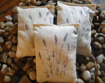 Fresh Lavender Sachets set of 3 Lavender botanical print