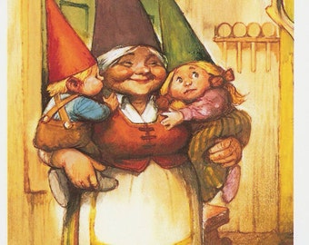 Vintage art print 80s. Lisa and her little kids. Gnomes By Rien Poortvliet.
